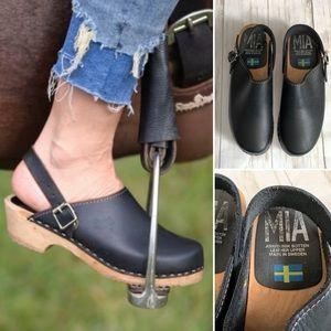 MIA Alma Swedish Black Leather Slip On Clog 8